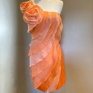 Jovani One Shoulder Tiered Dress Orange